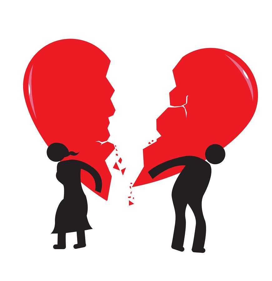 Divorce Heartache Concept. Broken Heart carried by stick man and